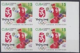 2008.292 CUBA MNH 2008. IMPERFORATED PROOF BLOCK 4. BEIJING OLIMPIC GAMES BEISBOL BASEBALL JUEGOS OLIMPICOS. - Geschnitten, Drukprobe Und Abarten