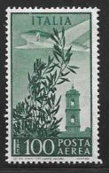 Italy, Scott # C132 Mint Hinged Plane, Bell Tower, 1955 - 1946-.. Republiek