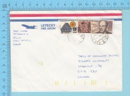 Ceskoslovensko - 1993,  Letecky Par Avion, KAHAGA , Aerogram,Check Republic  To Quebec Canada - Tchécoslovaquie