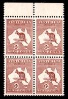Australia 1923 Kangaroo 6d Chestnut 3rd Wmk Block Of 4, 3MNH, 1MVLH - Mint Stamps