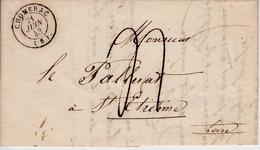 MARQUE POSTALE LAC DE  CHOMERAC A ST ETIENNE  21 JUIN 1843 - 1801-1848: Précurseurs XIX