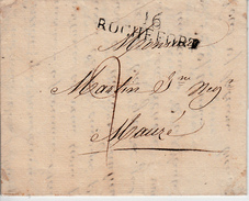 MARQUE POSTALE LAC DE 16 ROCHEFORT A MAUZE  18 JUILLET 1818 - 1801-1848: Précurseurs XIX