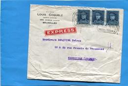 """Marcophilie- Belgique  -lettre-commerciale """"EXPRESS"""" >Françe -cad """"BRUSSE.LUISA Wijk 1939-3 Stamps - Andere"""