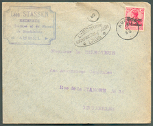 10 Centimes S/10 Pfg Obl. Sc AUBEL Sur Lettre Du 17-XI-15 Vers Bruxelles + Censure De LIEGE (exp. STASSEN Receveur  Des - WW I