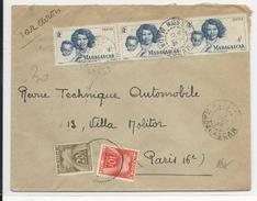 MADAGASCAR - 1946 - ENVELOPPE Par AVION De NOSSI-BE Pour PARIS Avec TAXE GERBES - Covers & Documents