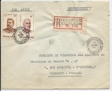 MADAGASCAR - 1952 - ENVELOPPE Par AVION RECOMMANDEE  De TANANARIVE TSARALALANA Pour CLERMONT - Madagascar (1889-1960)