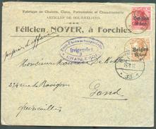 10 Cent + 15 Cent. Obl. Cad Sc De FORCHIES Sur Lettre Du 15-IX-17 Vers Gand + Censure De CHARLEROI Et Dc PostUberwachngs - WW I