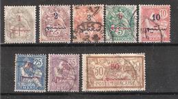 MAROC 1911 , 8 Timbres Surchargés Blanc / Mouchon / Merson Entre N° 25 Et 35 Obl, TB , Cote 23 Euros - Maroc (1891-1956)
