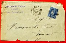 Lettre LAC N°22, Oblitération De PARIS, Etoile N°16 (R.DE PALESTRO), 1870 (B42-L3) - 1849-1876: Période Classique