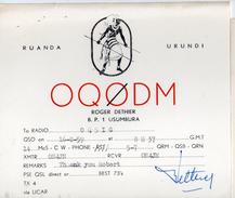CARTE QSL CARD 1959 RADIOAMATEUR HAM RADIO OQ0 RUANDA URUNDI RWANDA USUMBURA GUERRIER TUTSI WARRIOR A CONGO BELGE - Radio Amateur