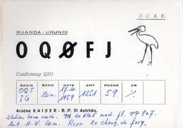 CARTE QSL CARD 1959 RADIOAMATEUR HAM RADIO OQ0 RUANDA URUNDI RWANDA ASTRIDA CIGOGNE STORK CONGO BELGE JADOTVILLE - Birds