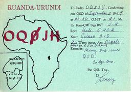 CARTE QSL CARD 1959 RADIOAMATEUR HAM RADIO OQ0 RUANDA URUNDI RWANDA KITEGA CONGO BELGE - Radio Amateur