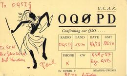CARTE QSL CARD 1958 RADIOAMATEUR HAM RADIO OQ0 RUANDA URUNDI RWANDA ASTRIDA GUERRIER TUTSI WARRIOR CONGO BELGE - Radio Amateur