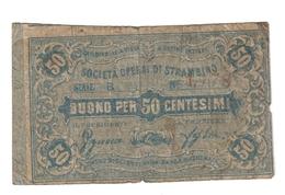 Aosta Società Operai Di Strambino 50 Cent  Biglietto Fiduciario R2 RR Naturale MB  LOTTO 1428 - Other