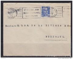 Enveloppe Fort De France Martinique 13.11.51 Bordeaux Timbre N°886 Flamme: Saint Pierre, Son Musée Ses Ruines Son Volcan - Covers & Documents