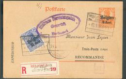 25 Centi S/25 Pfg En Compl. Sur E.P. Carte 8 Cent. S/7½ Pfg Obl. Cachet Rectangulaire De St-QUINTENS-LENNIK (Belgien) En - WW I