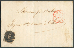 N°6 - Médaillon 10 Centimes Brun, Bien Margé Et Voisin, Obl. P.148 Sur Lettre De LANEFFE + Càd WALCOURT 10 Juillet 1854 - 1851-1857 Medallones (6/8)