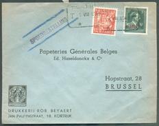 Affr. Col Ouvert Industrie à 5Fr.85 Obl. Télégraphique De KORTRIJK T  T Sur Lettre Exprés (Drukkerij BEYAERT) Du 5-VII-1 - 1946 -10%