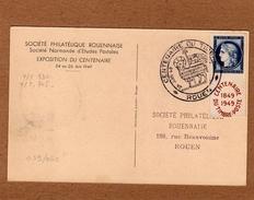Carte Maximum    CENTENAIRE DU TIMBRE ROUEN   N° 745  24 Juin 1949 - Cartoline Maximum