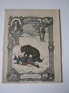 CAHIER ECOLE 1904 ENTIEREMENT ECRIT LES FABLES DE LA FONTAINE L'OURS ET LES DEUX COMPAGNONS  Dessin MIMARD  Imp GODCHAUX - Kids