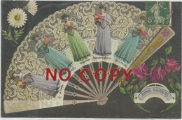 Thor 13.10.1907, Bon Baisers, Ventaglio, Linguaggio Dei Fiori, Splendida Cartolina Liberty. - Women
