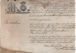 5000 Coconuts.Shipping Chart Of The Futão Boat From Bahia/Lisbon In 1831.Coroa Reino Portugal D.João VI.Very Rare.2sc - Schiffe