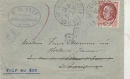 Yvert 517 Pétain Lettre VANDELEVILLE 25/3/1944 Retour Envoyeur Inconnu à Bourse Du Travail Paris - Cachets - France