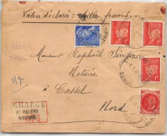 LETTRE CHARGEE TYPE PETAIN ET MERCURE DE ST VALERY SUR SOMME 1942     COVER FRANCE - Marcophilie (Lettres)