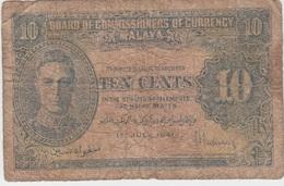 MALAYA BRITISH BORNEO 10 Cents 1941 P8 VG- - Billets