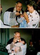 2 Photos Couleurs Originales Tétine & Biberon - Curé D'Astreinte Un Jour De Baptême En 1990 - Personnes Anonymes
