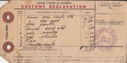 53467- US CUSTOM DECLARATION, PARCEL TRANSPORTATION TICKET, DOUANE, 1948, USA - Transporttickets