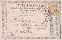 53482- CERES, STAMP ON POSTCARD, 1877, FRANCE - 1871-1875 Cérès
