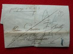 PORT PAYE MANUSCRIT TULLINS LAC PARIS A GRENOBLE TRIANGLE LETTRE P 1826 - Marcophilie (Lettres)