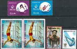 Plongeon  Lot 10 ; 6 Timbres Azerbaidjan Tanzanie Guinée Corée / Sport Jeux Olympiques