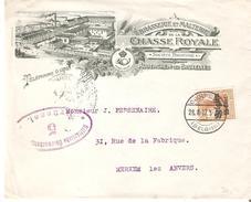 TP.Occ.Allemande 15cent OUDERGEM 28/8/1917 S/très Belle Lettre BRASSERIE CHASSE ROYALE /Merxem. TB. - Beers
