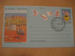 EMU AUTRUCHE OSTRICH OSTRICHES Melbourne 1985 Aerogramme Air Letter Australia