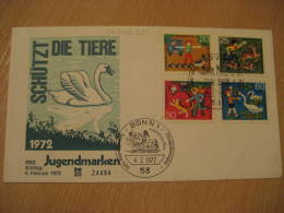 SWAN SWANS Yvert 560/3 Bonn 1972 FDC Cancel Cover Germany