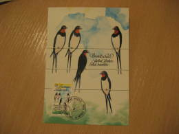 SWALLOW HIRONDELLE GOLONDRINA Swallows Vaduz 1986 Maxi Maximum Card Liechtenstein