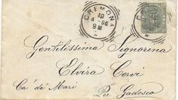 STORIA POSTALE REGNO UMBERTO I° -  BUSTA DA CREMONA A CA DE' MARI ANNULLO TONDO RIQUADRATO - 1878-00 Umberto I