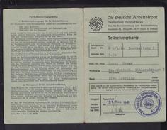 DR Die Deutsche Arbeiter Front Teilnehmerkarte Versicherungsausweis Mainz 31.8.1940 Kreisberufserziehungaamt - Historische Dokumente