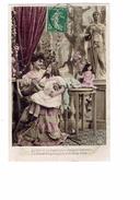 Cpa - Femme élégante Robe -- Fillette Poupée - Statue 1867 SIP - 1908 - - Gruppen Von Kindern Und Familien