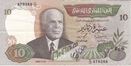 BILLETE DE TUNEZ DE 10 DINARS DEL AÑO 1986 (BANK NOTE) - Tunisia