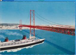 (CC) SHIP BATEAUX LISBOA BRIDGE POSTCARD USED - Bateaux