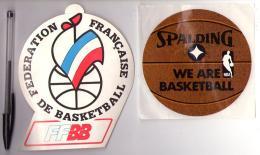 Autocollant 003, Basket,lot De 2 Autocollants FFBB Spalding - Autocollants