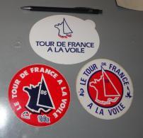 Autocollant 084, Sport Voile Le Tour De France à La Voile 1982 1986 Lot De 3 Autocollants - Stickers