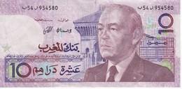 BILLETE DE MARRUECOS DE 10 DIRHAMS DEL  AÑO 1987  (BANKNOTE) - Maroc