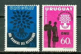Uruguay 1960 Yv 678** + PA 206** - Mi 887/888**   MNH - World Refugee Year - Uruguay