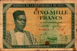 MALI 5000 FRANCS Du 22 Septembre 1960 Pick 5  TRES  RARE - Mali