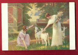 FJM-27 Salon De Paris, Kowalsky, Jeunes Femmes Et Petites Chèvres.  Cachet 1915 Sur Timbres Italiens - Museen