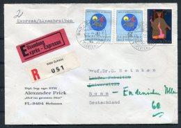 1971 Liectenstein Schaan Express Registered Cover - Bonn Via Koln/Bonn Flughafen - Covers & Documents